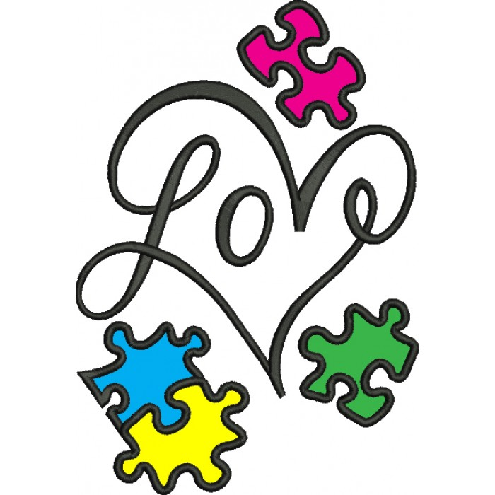 Autism clipart butterfly. Love heart awareness puzzle