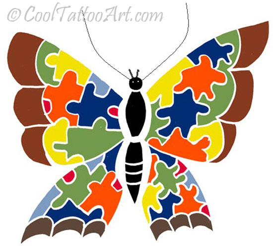 Free tattoos art designs. Autism clipart butterfly