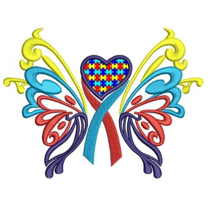 Heart awareness applique machine. Autism clipart butterfly