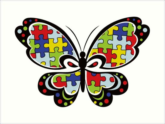 Autism clipart butterfly.  awareness art print