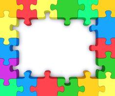Free puzzle piece clip. Autism clipart colourful border