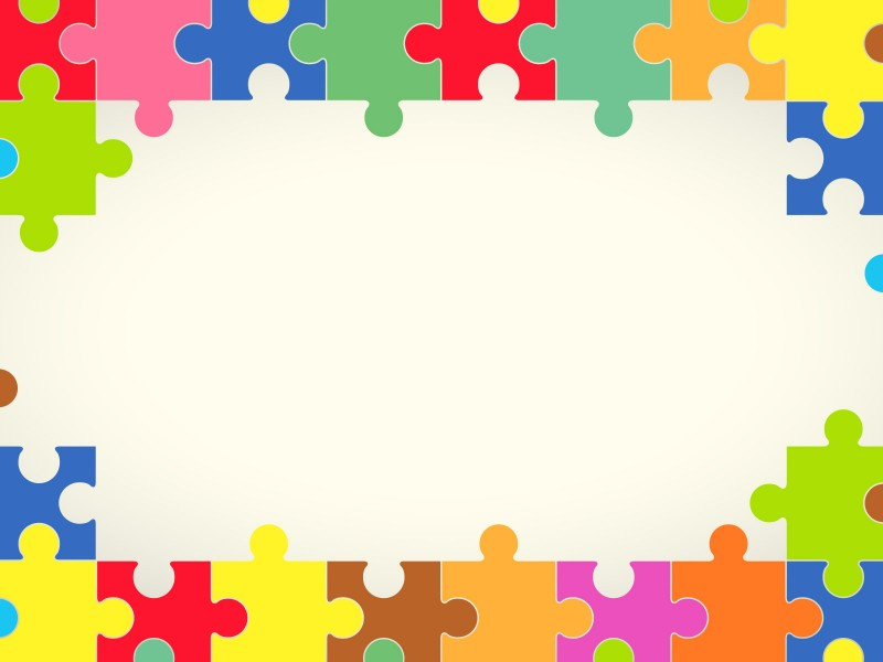 Puzzle powerpoint templates with. Autism clipart colourful border