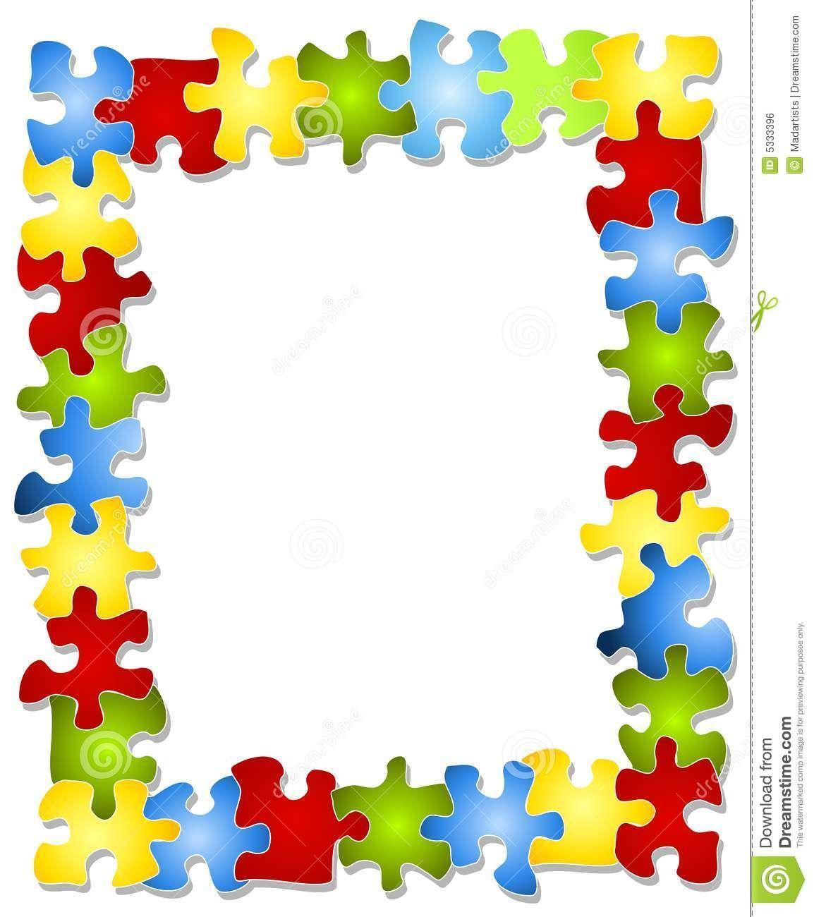 Autism clipart colourful border. Colorful puzzle pieces frame