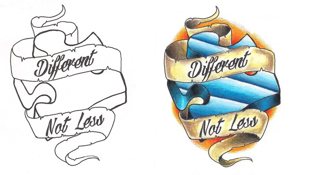 Freebies tattoo design by. Autism clipart different not less