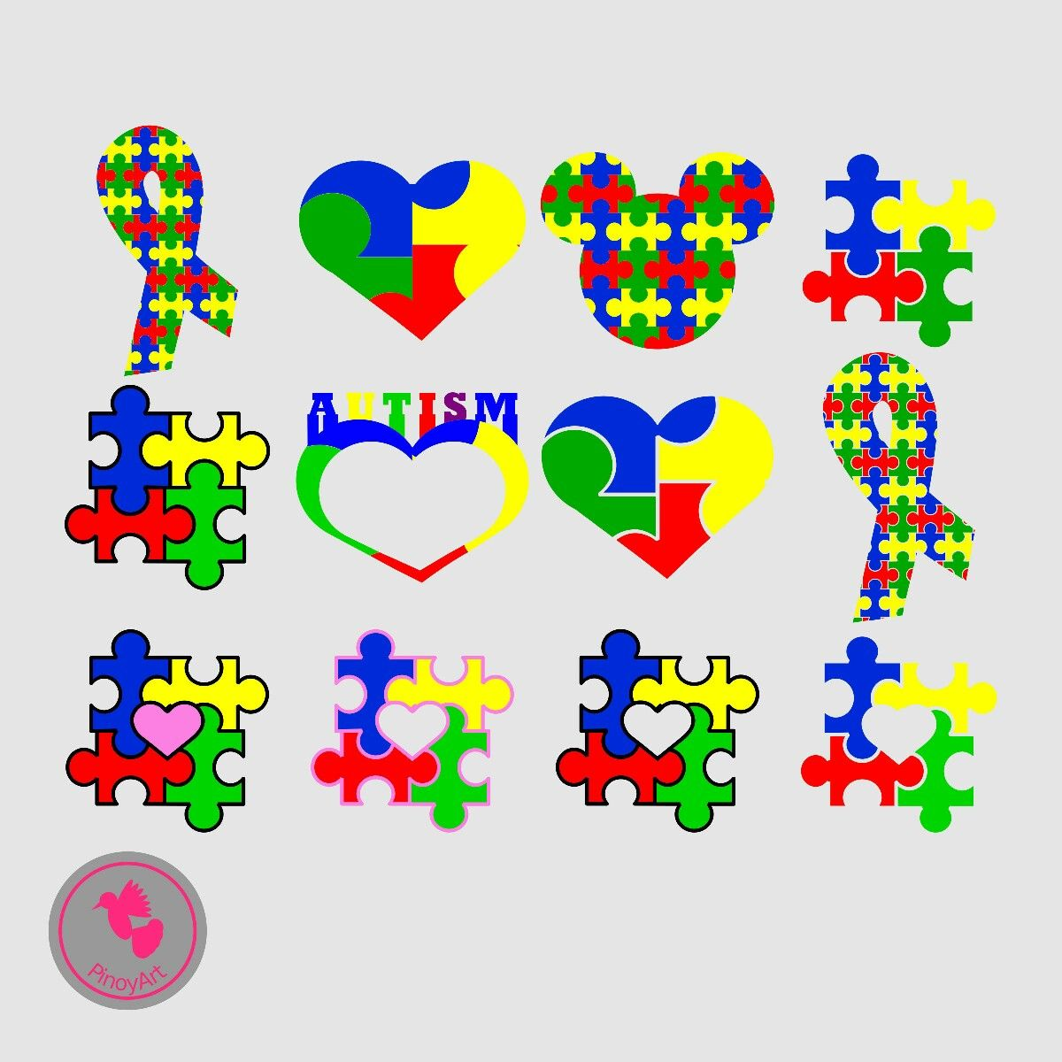 Autism clipart file. Svg awareness files excited