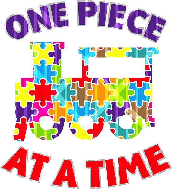 A sublimation transfer . Autism clipart one piece at time