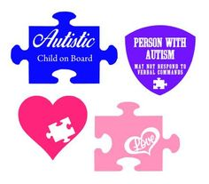 Svg stickers cutting files. Autism clipart pink
