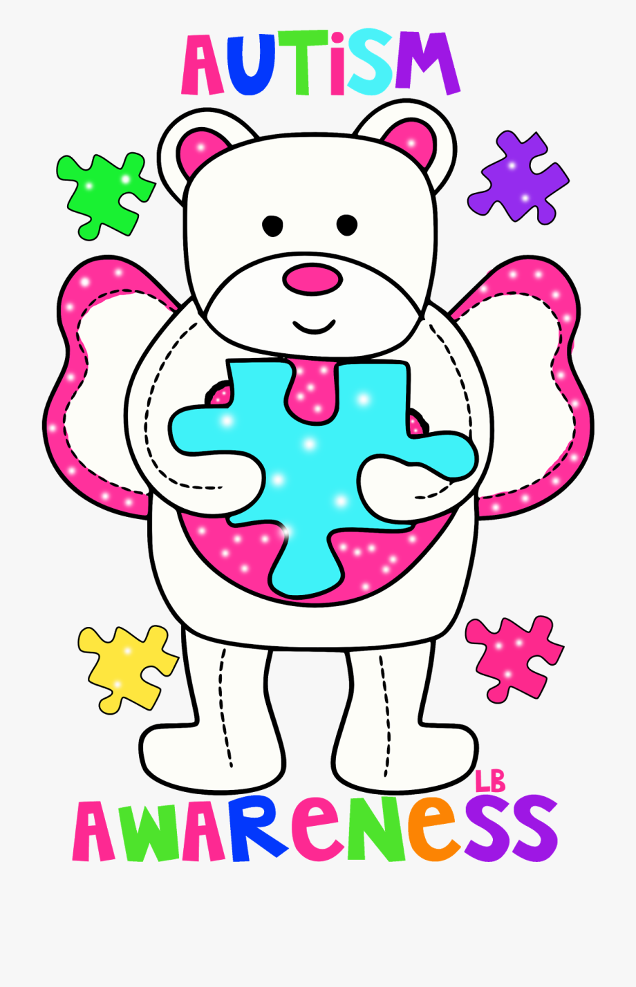 Medical problems awareness day. Autism clipart pink