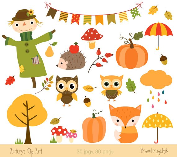 Autumn clipart. Fall clip art digital