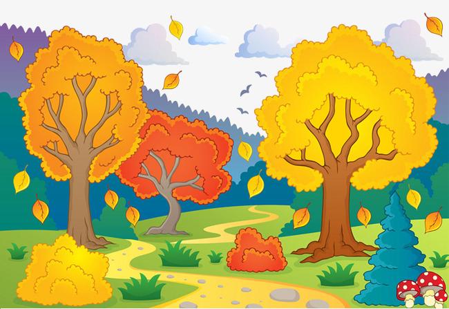 Cartoon hand painted decorative. Autumn clipart autumn landscape