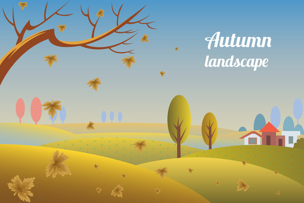 Autumn clipart autumn landscape. Drawing countryside scenery leafless