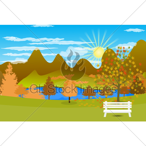 Autumn clipart autumn landscape. Background with lake and