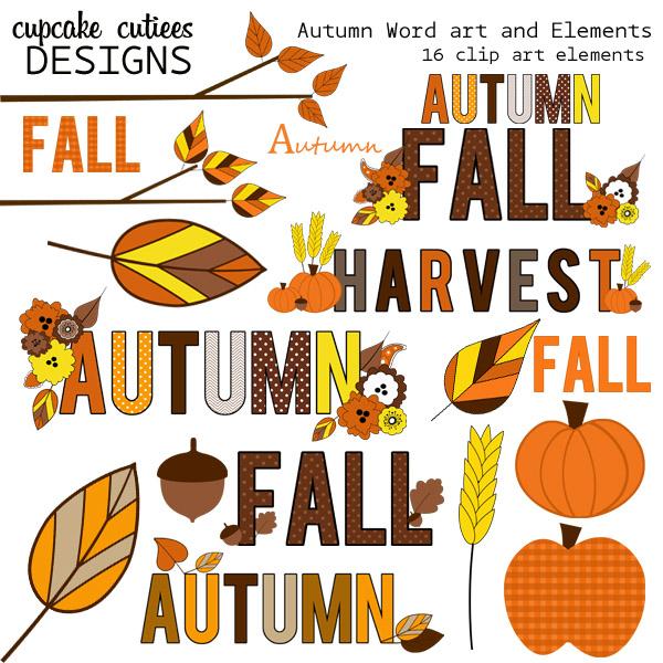 Cupcake cutiees art clip. Autumn clipart autumn word
