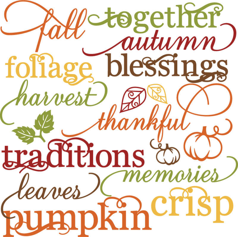 Memories clipart file. Fall words set svg