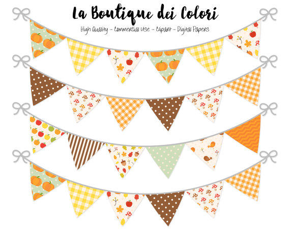 Fall bunting banners party. Autumn clipart banner