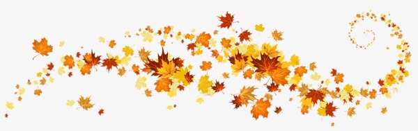 Golden leaves border frame. Autumn clipart banner