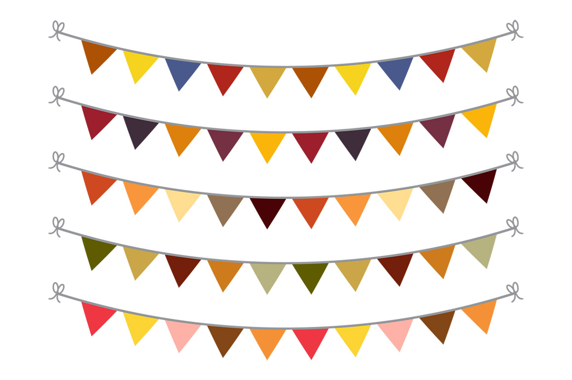 Autumn clipart banner. Fall bunting svg flag