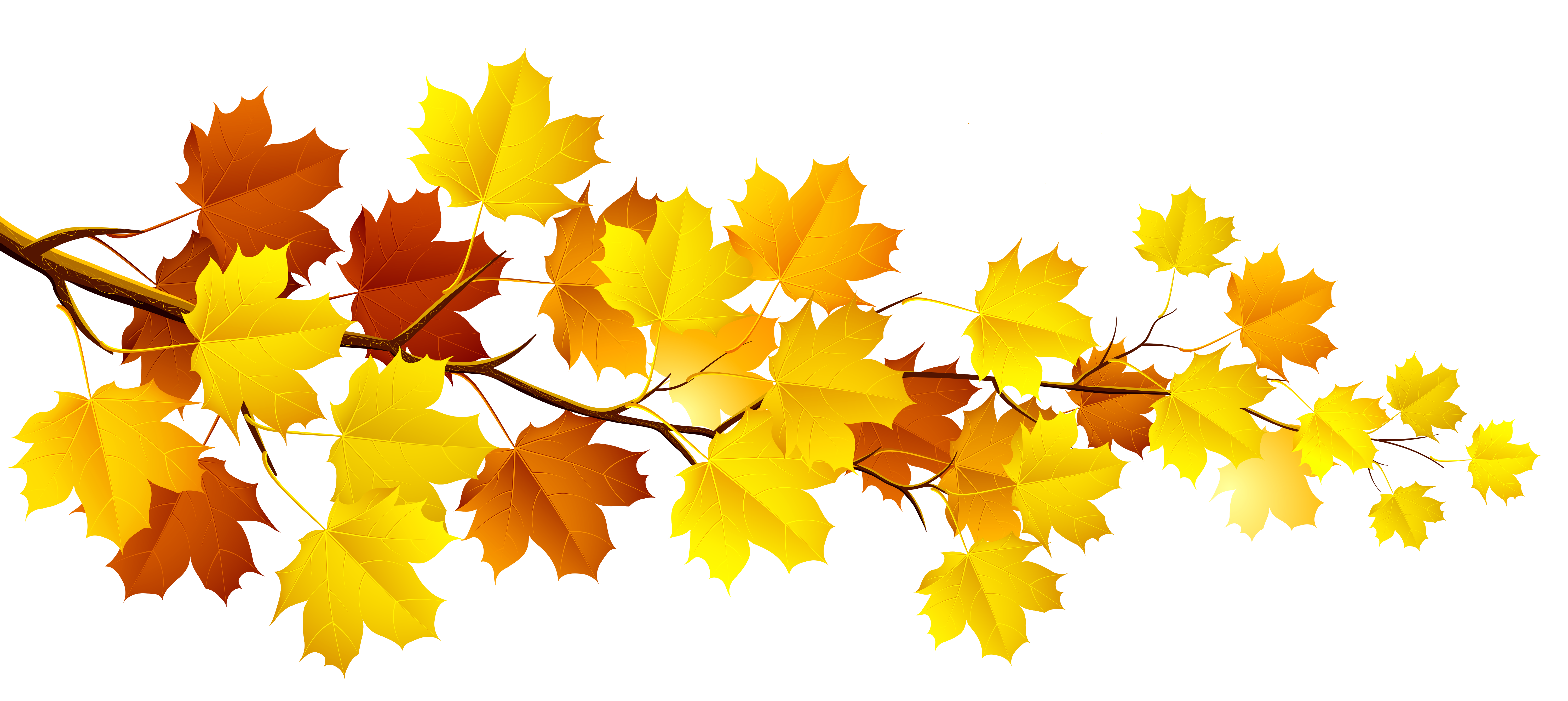 Branch with autumn leaves. Lake clipart banner