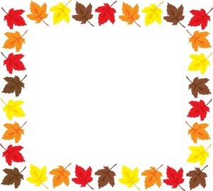 Fall leaves border panda. Autumn clipart boarder