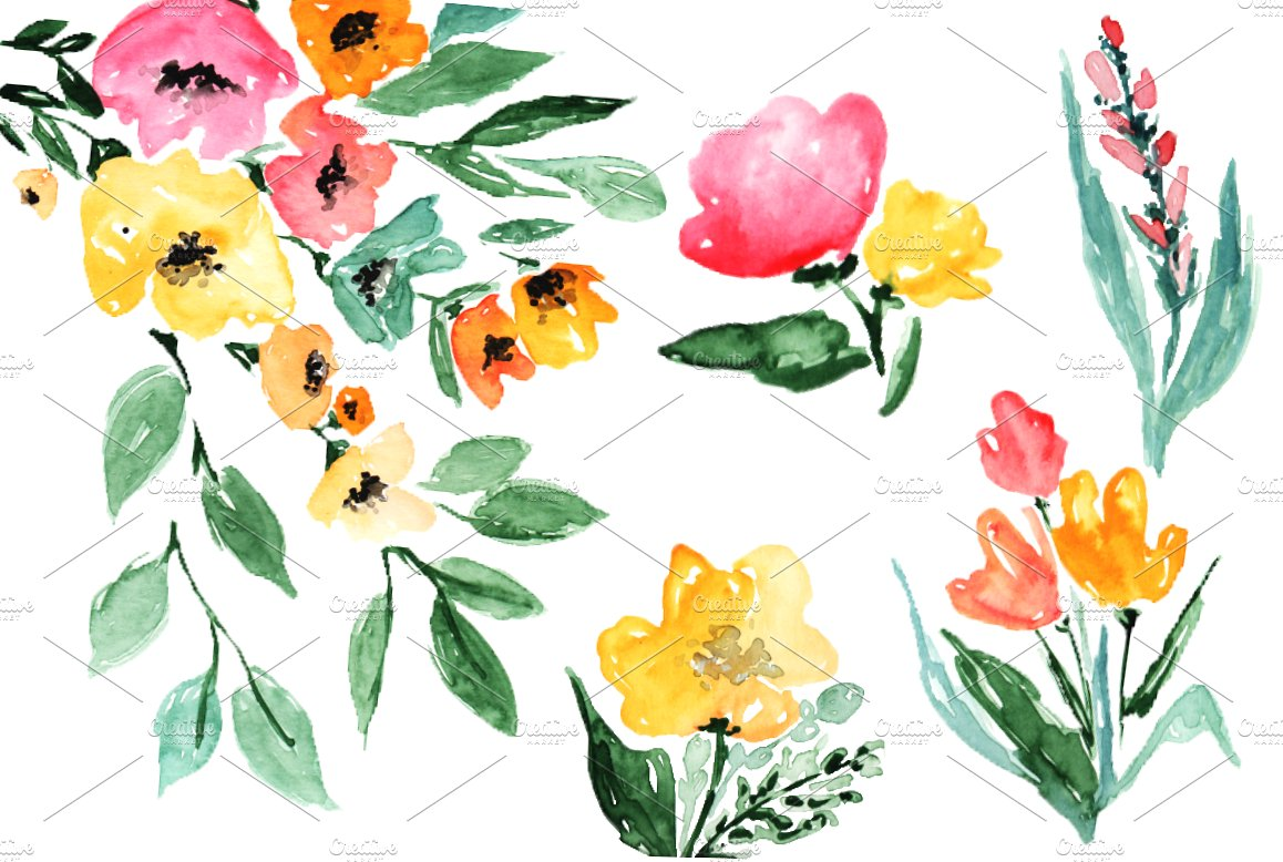 Watercolor flowers illustrations creative. Autumn clipart branch