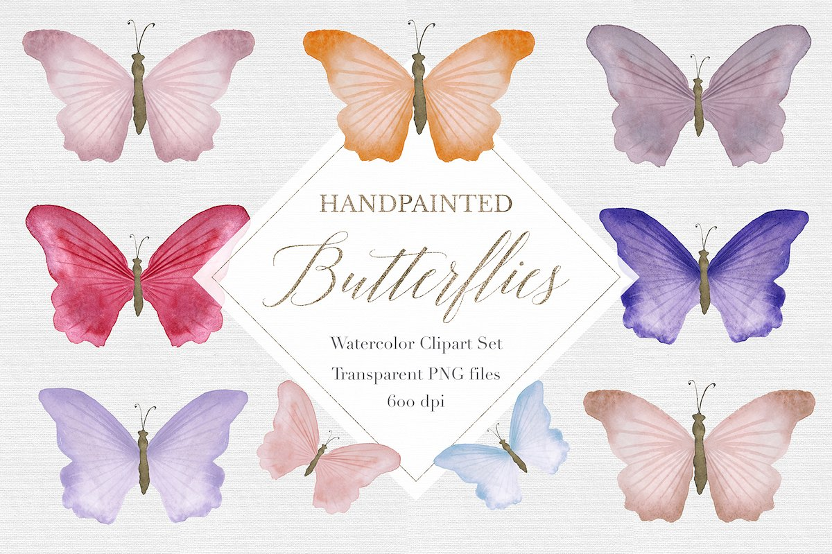 Autumn clipart butterfly. Watercolor illustrations creative market