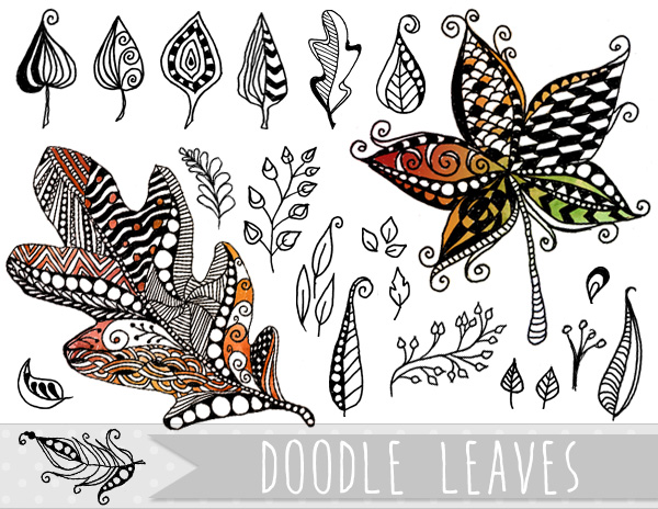 Autumn clipart butterfly. Doodle leaves vector and