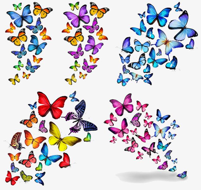 Autumn clipart butterfly. Vector pattern fluttering butterflies