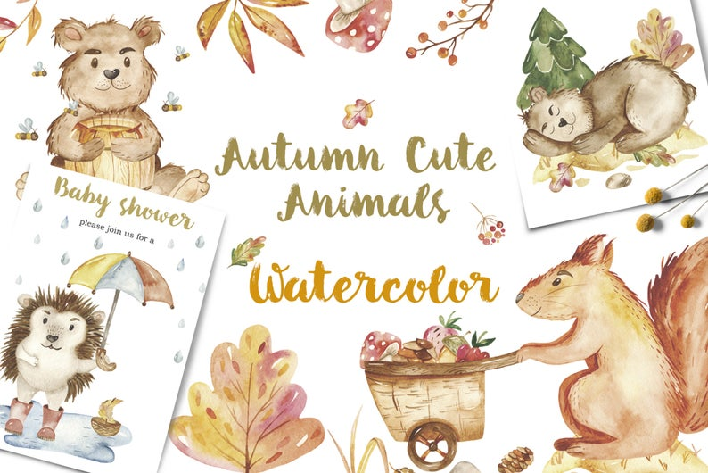 Cute watercolor animals illustrations. Autumn clipart cartoon