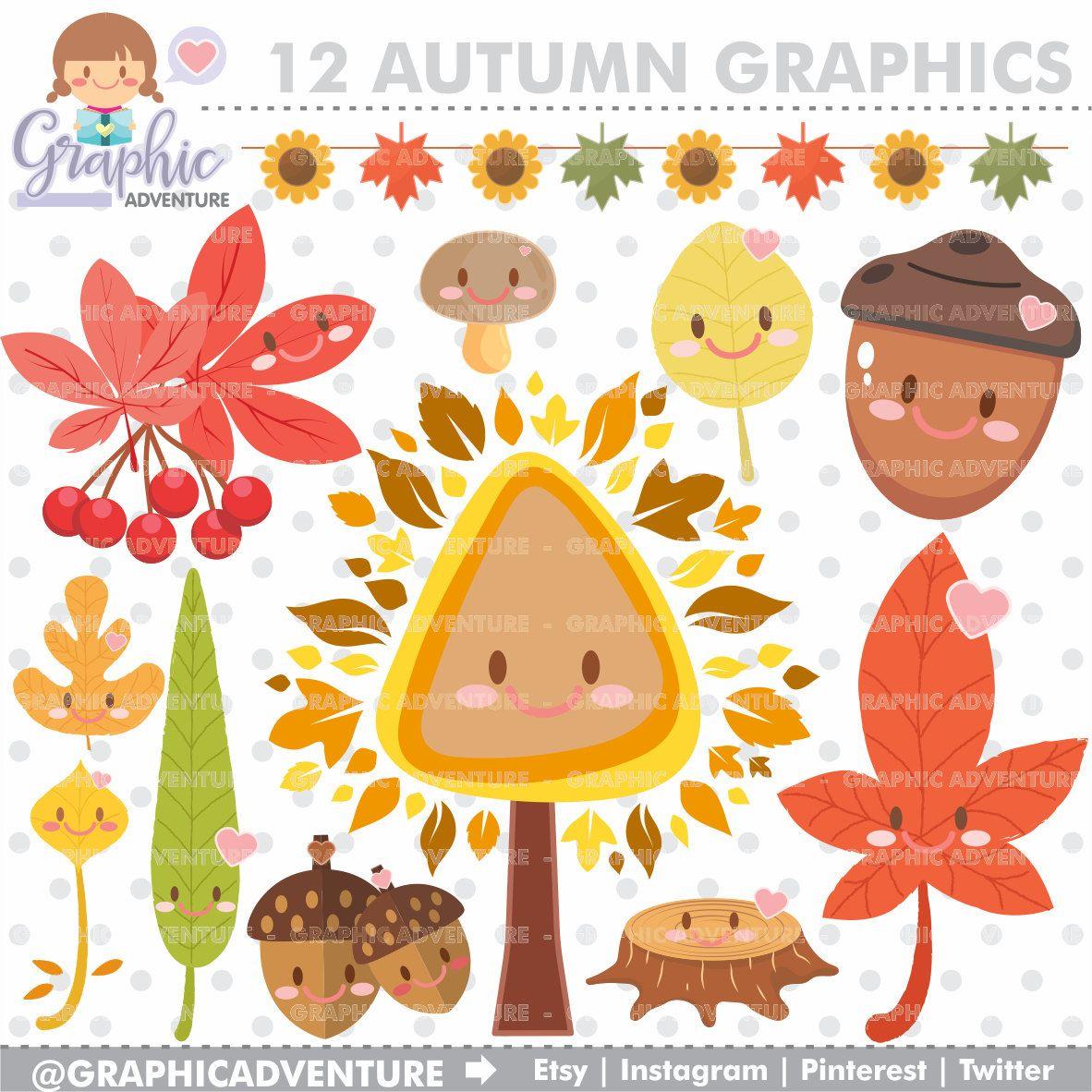 Autumn clipart cartoon. Graphics commercial use kawaii