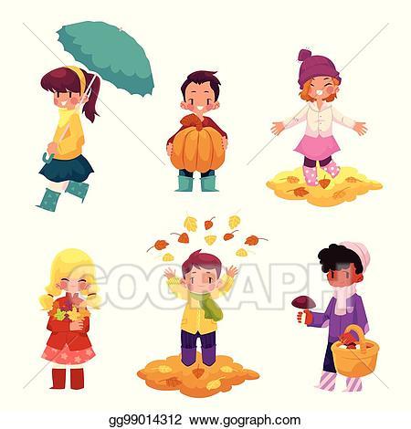 Autumn clipart cartoon. Vector art kids children