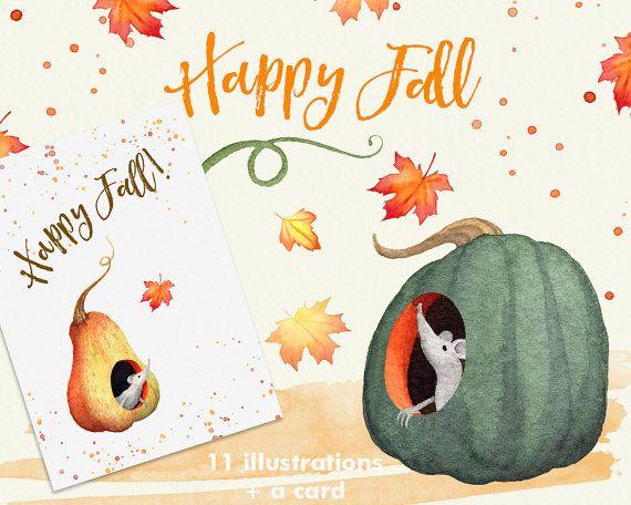 Cute fall pumpkin leaves. Autumn clipart cat