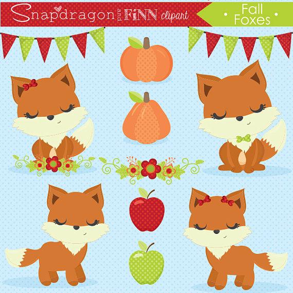 Autumn clipart cat. Fall foxes cute pumpkin