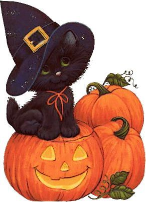 Ruth morehead halloween and. Autumn clipart cat