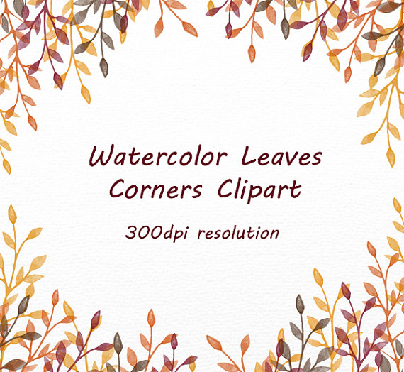 Autumn clipart corner. Hand drawn leaves corners