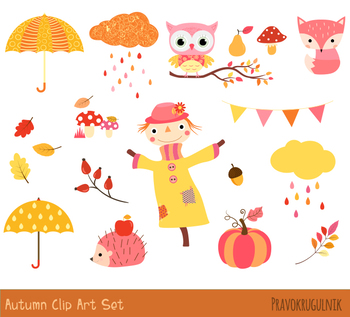 Fall set thanksgiving pumpkin. Autumn clipart cute