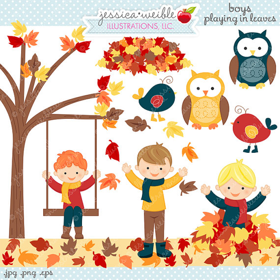 Boys playing in leaves. Autumn clipart cute