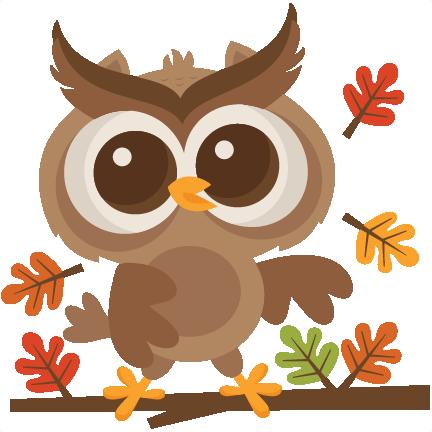 Fall owl svg scrapbook. Autumn clipart cute