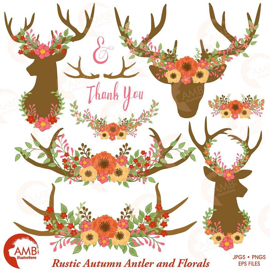 Floral deer antler illustrations. Antlers clipart profile
