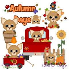 Autumn clipart dog. Fall cutting files marjorie