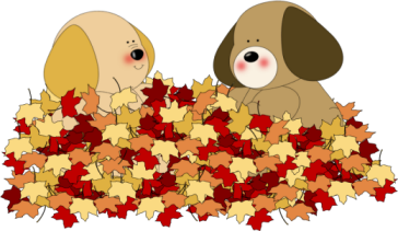 Autumn clipart dog. Dogs playing in leaves