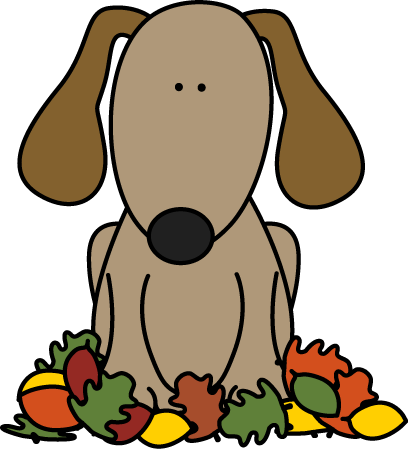 Autumn clipart dog. Sitting in leaves cozy