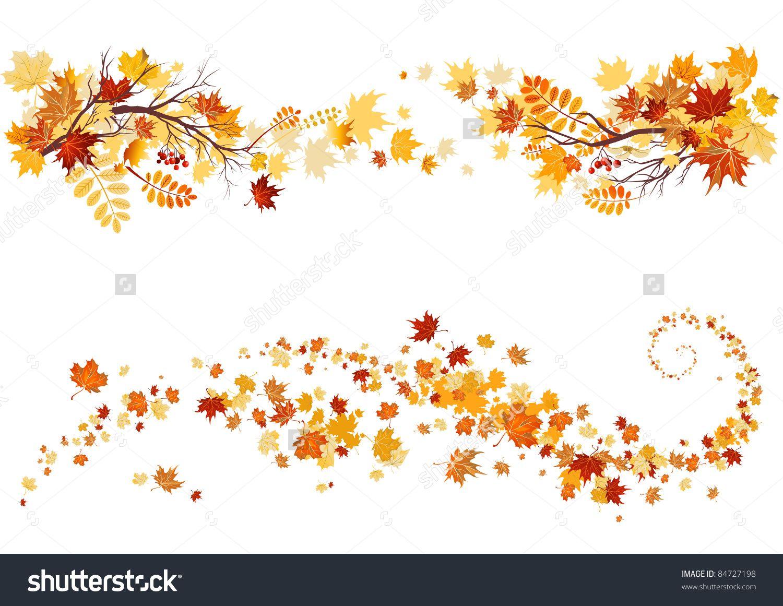 Leaves border stock vector. Autumn clipart elegant