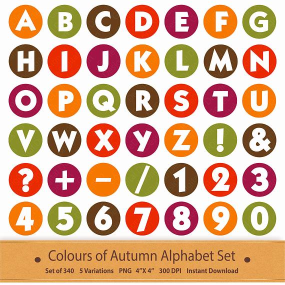 Autumn clipart elegant. Scrapbooking alphabet stickers digital