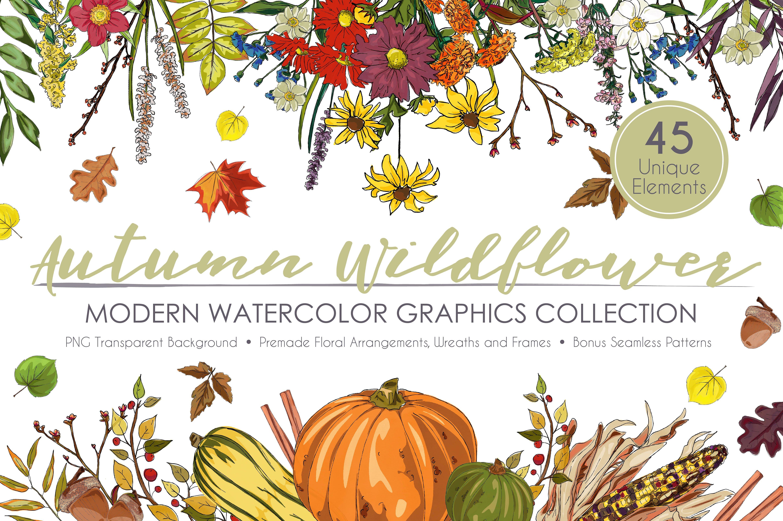 Autumn clipart element. Wildflower graphic set illustrations