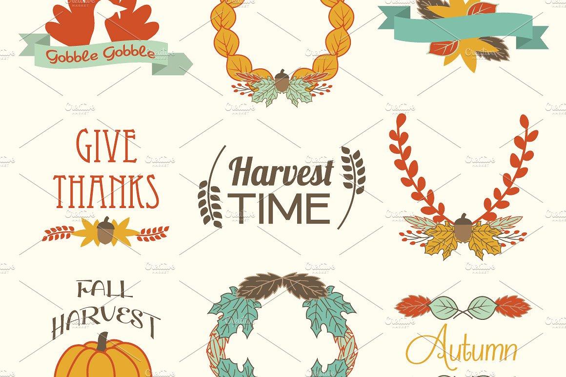 Fall elements vector clip. Autumn clipart element