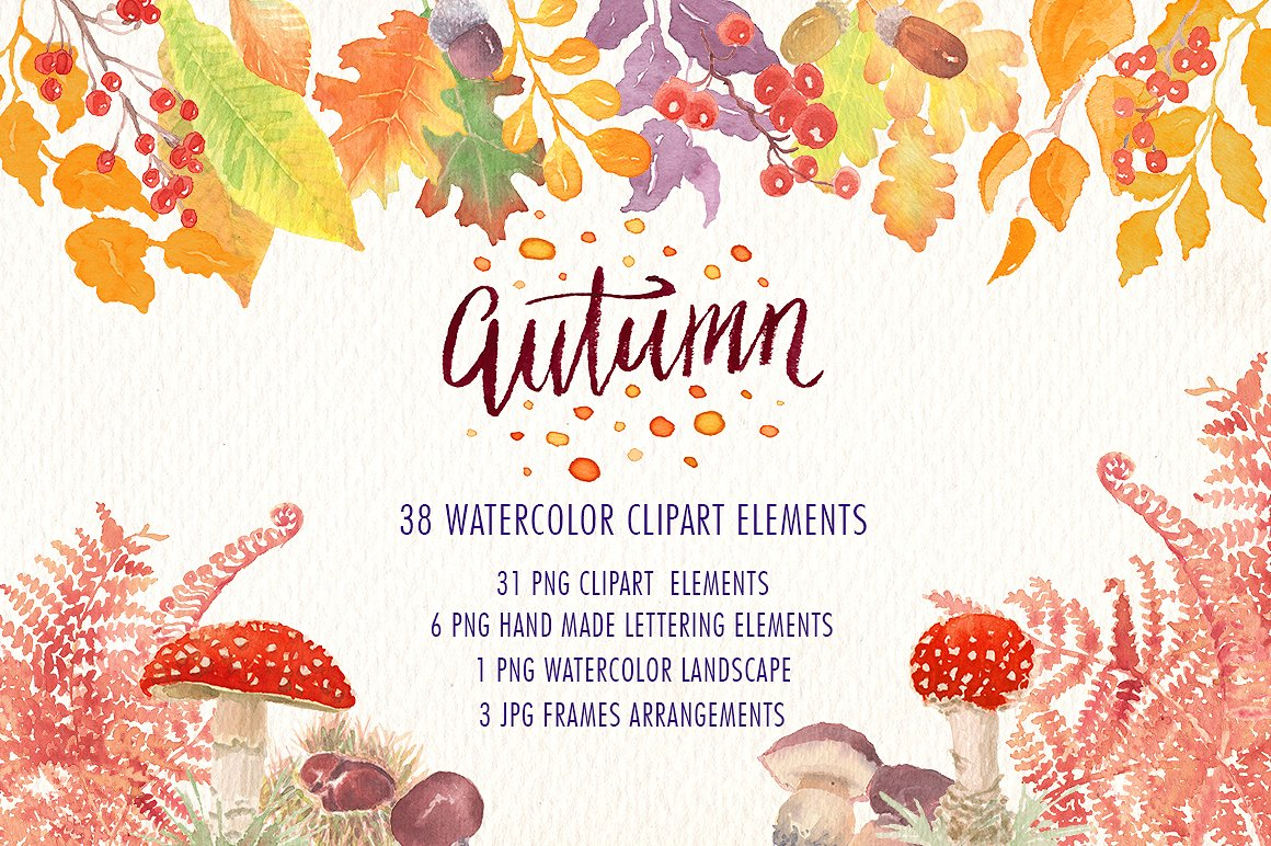 Autumn clipart element. Graphic collection illustrations creative