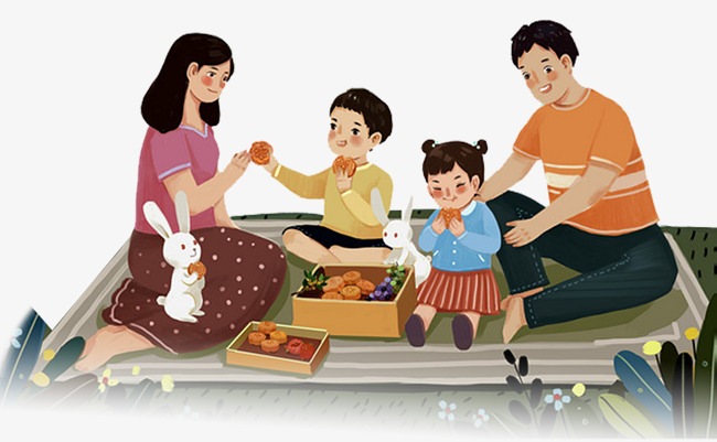 Mid festival reunion cartoon. Autumn clipart family
