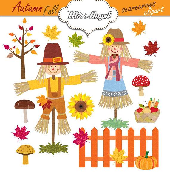 Autumn scarecrows digital fall. Scarecrow clipart fence