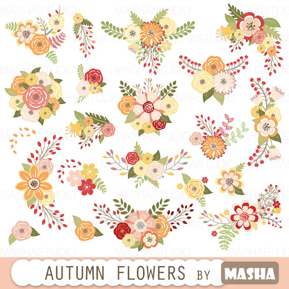 Bouquet clipart autumn. Flowers with fall color