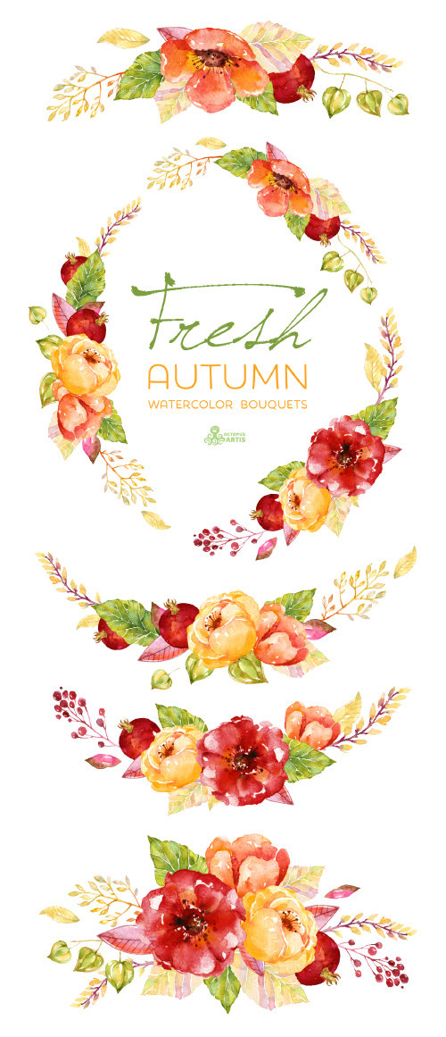 Fresh bouquets wreath handpainted. Bouquet clipart autumn